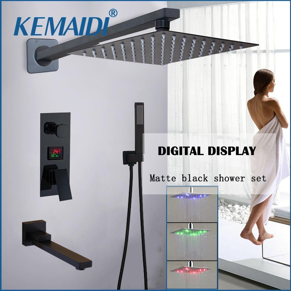 KEMAIDI Matte Black LED Digital Display Shower Faucet Set Rainfall Folding Bathtub Shower System LCD Digital Shower Mixer Tap